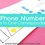 One to One Correspondence Activities with Your Phone Number